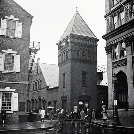 Historical black and white photo of the Lancaster Central Market