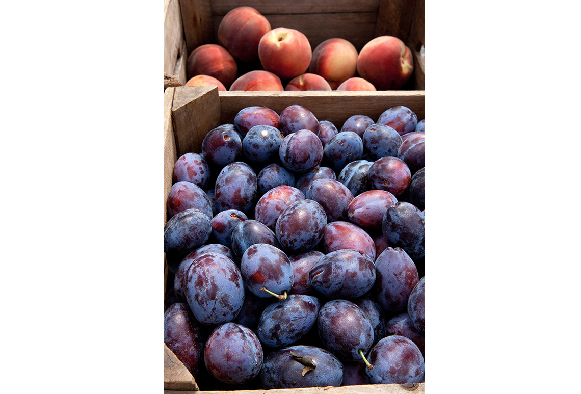Peaches and prune plums