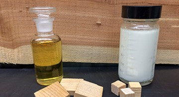 A bottle of cedarwood oil and white cedarwood oil emulsion.