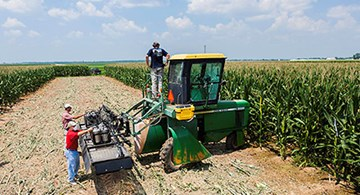 Three people preparing tractor-mounted sprayer equipment in a cornfield.